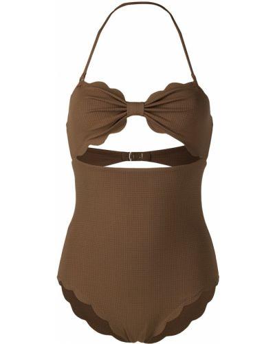 Коричневый пляжный купальник с шортами с завязками Marysia