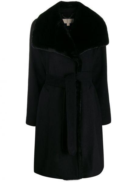 Шерстяное черное длинное пальто с поясом Michael Michael Kors