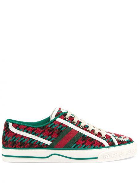Koronkowa zielony sneakersy na sznurowadłach z łatami Gucci
