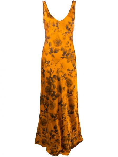 Pomarańczowa sukienka długa rozkloszowana z wiskozy Galvan