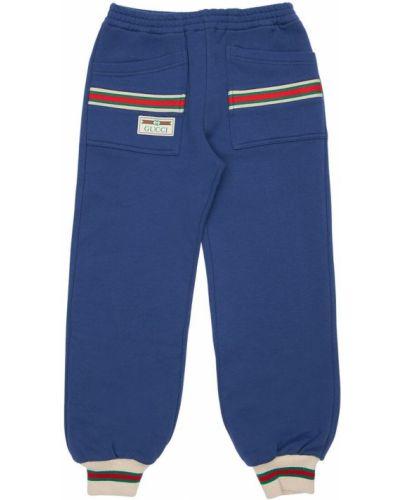Bawełna niebieski joggery z kieszeniami z mankietami Gucci