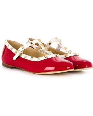 Лаковые кожаные красные балетки Prosperine Kids