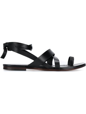 Czarne sandały skorzane na niskim obcasie Emilio Pucci