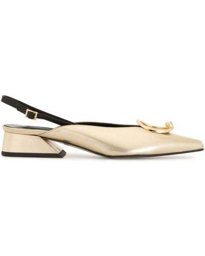 Золотистые с ремешком желтые туфли на каблуке с пряжкой Yuul Yie