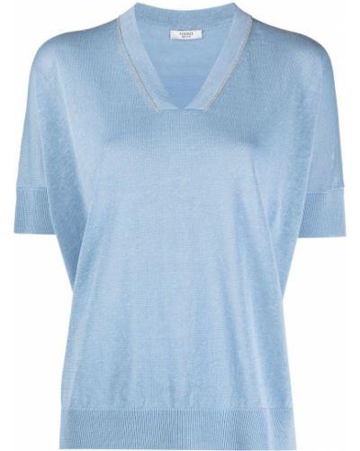 Синий джемпер с короткими рукавами с V-образным вырезом Peserico