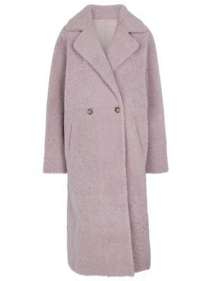 Фиолетовое пальто на кнопках Yves Salomon
