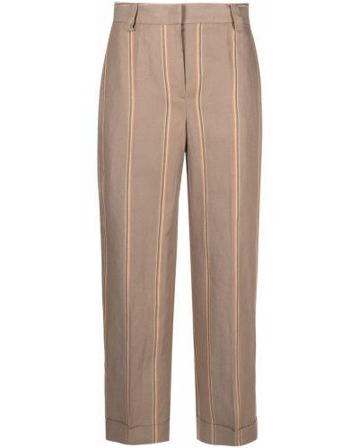 С завышенной талией прямые брюки в полоску Pt01