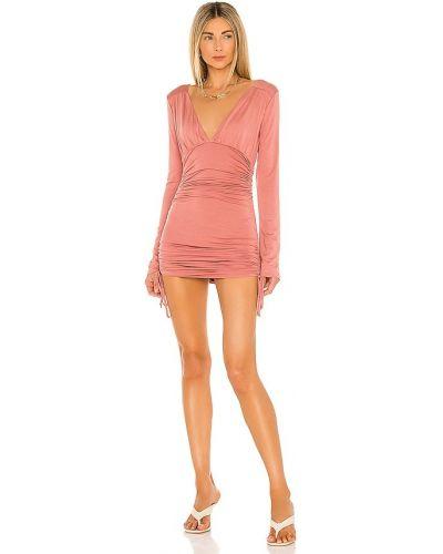 Розовое платье с оборками из вискозы Lovers + Friends