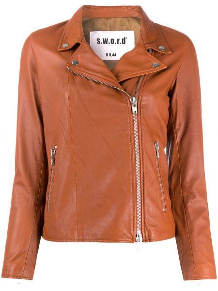 С рукавами коричневая куртка на молнии с лацканами S.w.o.r.d 6.6.44