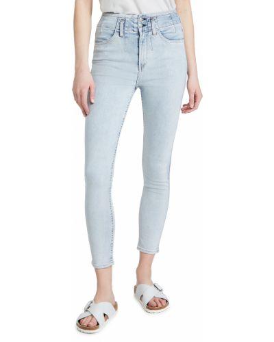 Niebieskie jeansy rurki z wysokim stanem bawełniane Rag & Bone