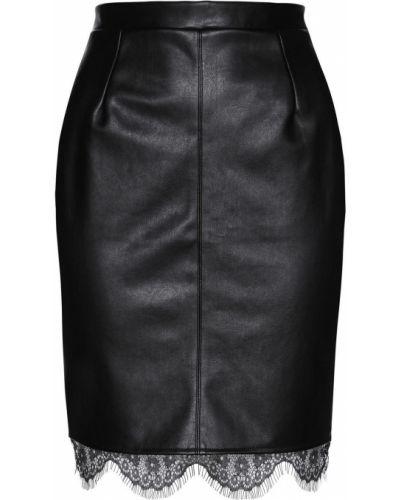 Кожаная юбка черная из искусственной кожи Bonprix