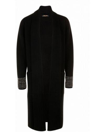Кашемировый черный кардиган с карманами с воротником Max & Moi