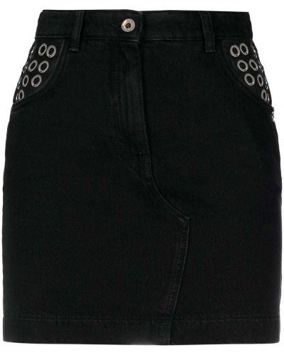 Czarna spódnica mini z wysokim stanem z paskiem Patrizia Pepe