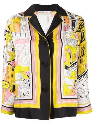 Желтая шелковая классическая рубашка с воротником Emilio Pucci
