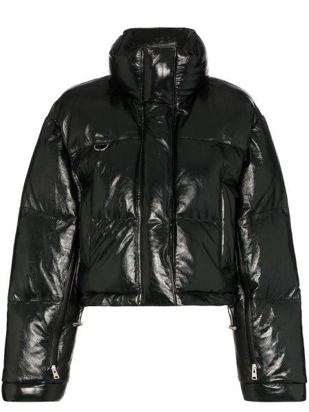 Czarna długa kurtka skórzana z długimi rękawami Shoreditch Ski Club