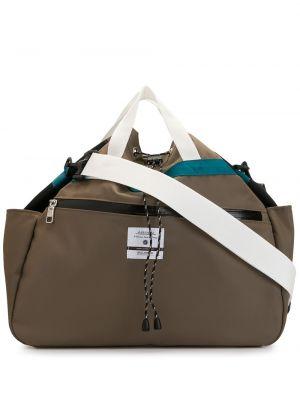 Коричневая нейлоновая сумка на плечо с завязками с карманами As2ov