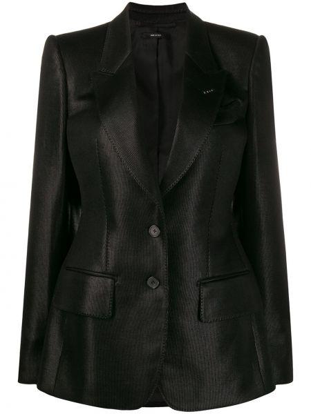 Однобортный черный пиджак с карманами Tom Ford