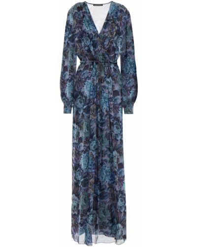 Плиссированное синее шифоновое платье макси Alberta Ferretti