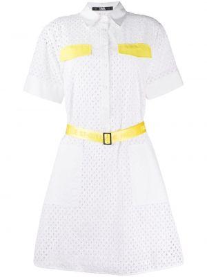 Белое платье мини с вышивкой с поясом Karl Lagerfeld