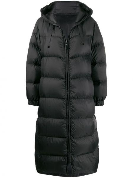 Черный длинное пальто с капюшоном с перьями Max Mara