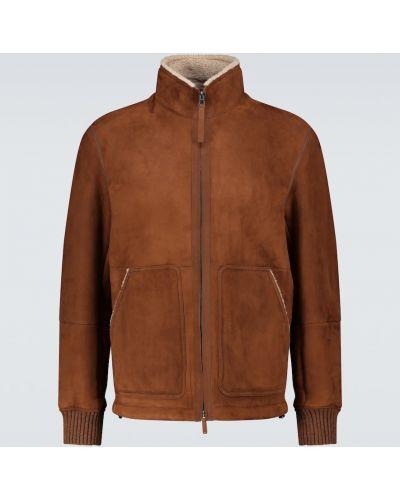 Zamsz brązowy ciepła kurtka dwustronny z kołnierzem Ermenegildo Zegna