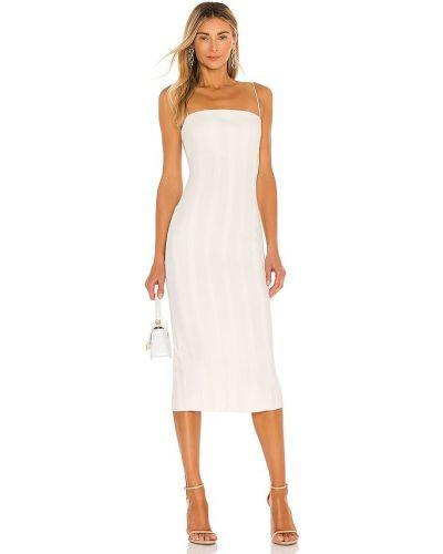 Деловое бежевое платье на молнии Misha Collection