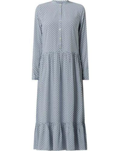 Niebieska sukienka rozkloszowana z falbanami Montego
