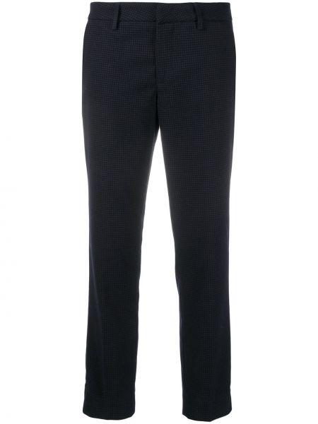 Брючные синие укороченные брюки с карманами из вискозы Fay
