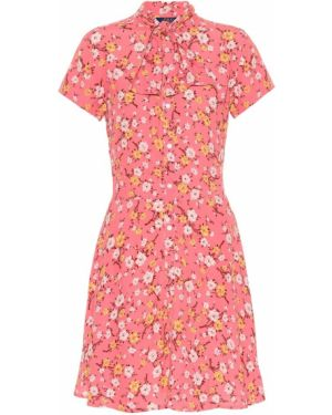 Платье мини розовое с цветочным принтом Polo Ralph Lauren