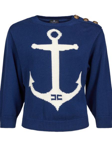 Хлопковый синий свитер Elisabetta Franchi