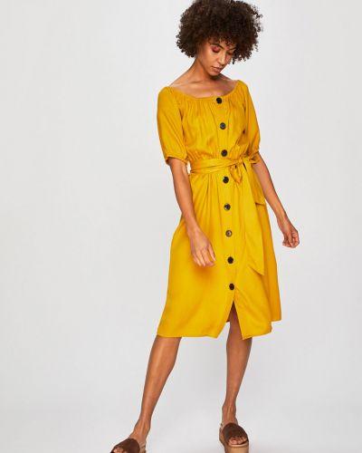 Платье с поясом однотонное на пуговицах Medicine