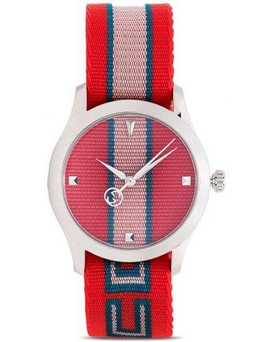 Красные часы в полоску Gucci