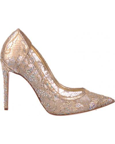Туфли на каблуке кожаные золотые Le Silla