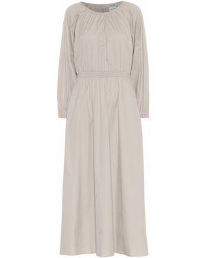 Ватное хлопковое бежевое платье миди 's Max Mara