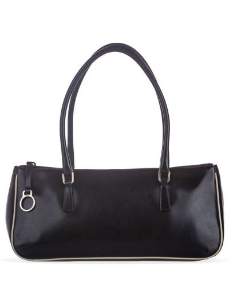 Кожаная черная сумка-тоут на молнии с подкладкой Prada Pre-owned
