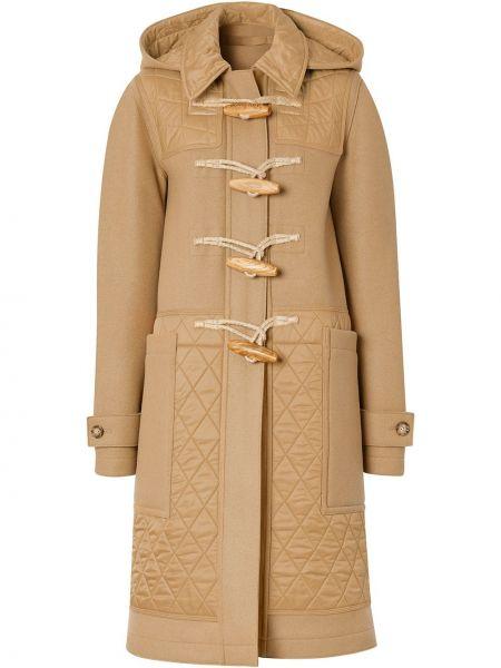 Коричневое стеганое шерстяное длинное пальто Burberry