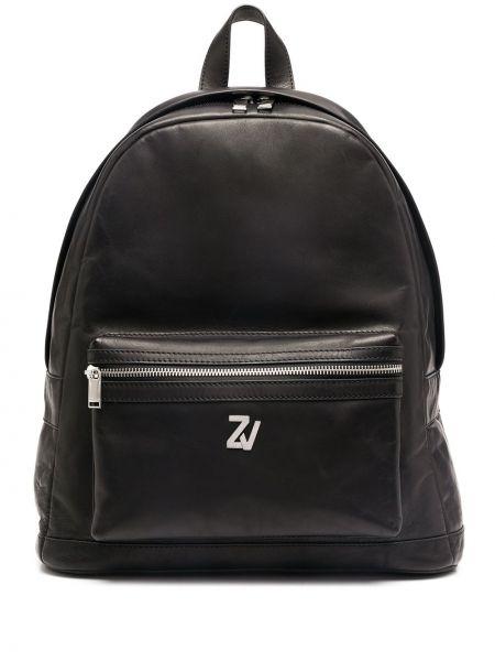 Кожаная черная сумка на плечо двусторонняя на бретелях Zadig&voltaire
