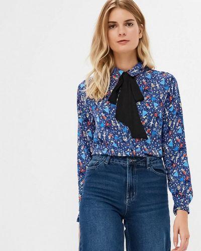 Блузка с длинным рукавом синяя твое