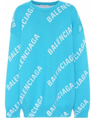 Niebieski bawełna akryl sweter Balenciaga