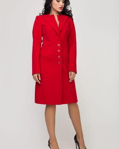 Однобортное красное пальто с карманами Sergio Cotti