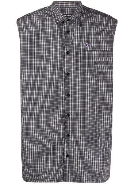 Koszula klasyczna w kratę czarny i biały Raf Simons