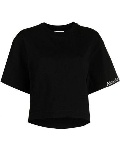 Czarny t-shirt oversize bawełniany Alexander Mcqueen