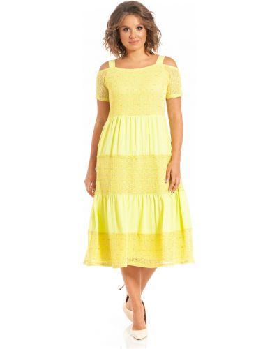 Повседневное с рукавами платье миди трапеция Merlis