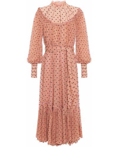 Шелковое кружевное платье миди с опушкой Zimmermann