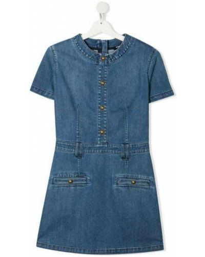 Niebieska sukienka zapinane na guziki Balmain