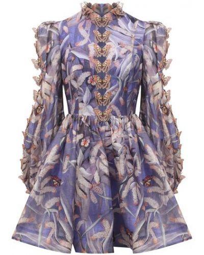 Фиолетовое шелковое платье с подкладкой Zimmermann