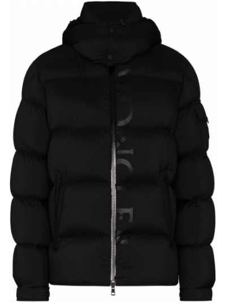 Puchaty prosto klasyczny czarny kurtka z kapturem Moncler