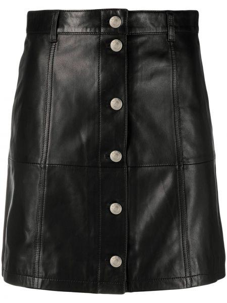 Черная с завышенной талией кожаная юбка Iro