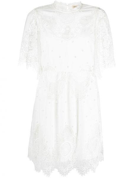 Белое платье мини со вставками с вырезом с короткими рукавами Temperley London