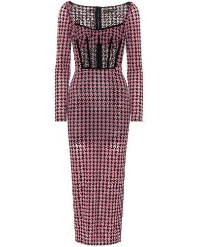 Розовое платье миди сетчатое с сеткой David Koma